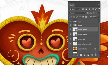 Mexican hearts crown by Pen Tool