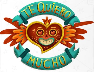 Mexican style heart lettering
