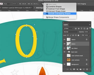Overlapping vector shapes in Photoshop