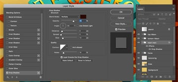 Drop Shadow settings in Photoshop for the noise shadow
