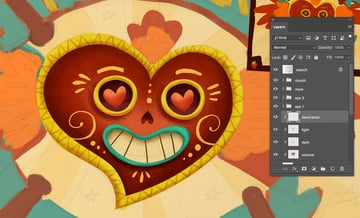 Mexican style decoration by inker brushes