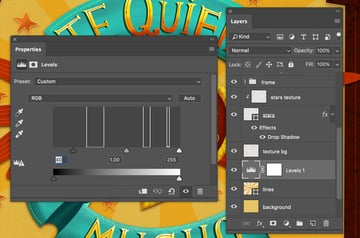 Levels panel in Adobe Photoshop