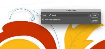 Simulate pressure for the stroke