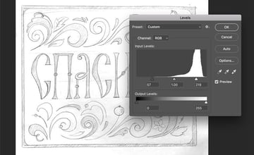 Preparing the sketch in Adobe Photoshop Hand lettering in Russian folk style