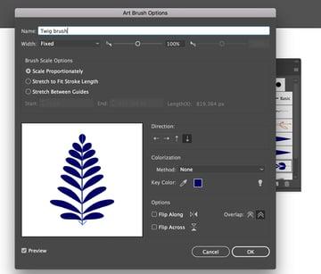 Create twig art brush for Gzhel pattern