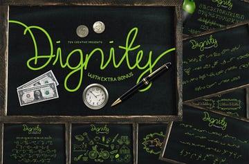Dignity Monoline Cursive Script Font