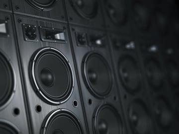 A bank of loudspeakers