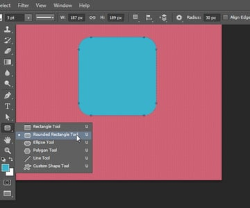 Draw a rounded rectangle shape