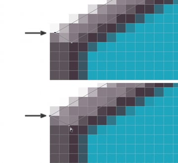 Fix each vector point to pixel grid
