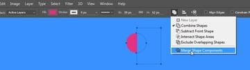 Draw a half circle shape