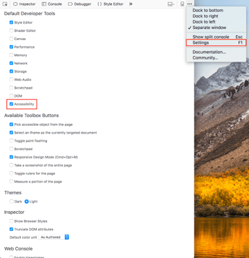 Enabling the accessibility panel in Firefox developer tools