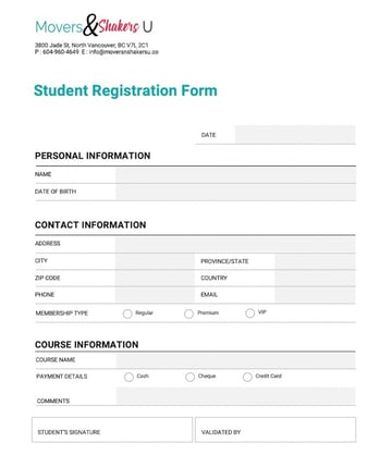 Paper Registration Form Customized on Microsoft Word
