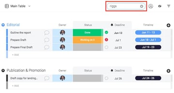 Project Management - Team Member Progress on Mondaycom