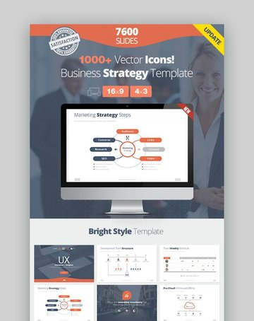 Business Strategy Google Slides Template with icons