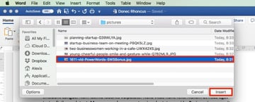 Insert Picture in Word - from File