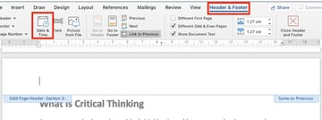 Insert date and time in Microsoft Word