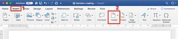 Microsoft Word header - insert
