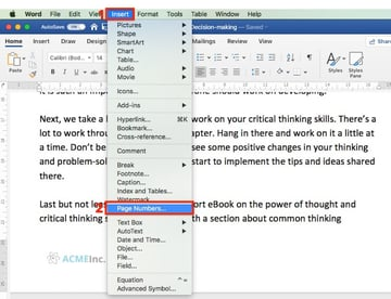 Insert page numbers - Microsoft Word