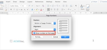 Show number on first page - Microsoft Word