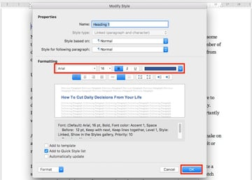 Change Microsoft Word default font - Modify paragraph style