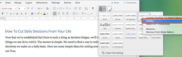 Change Microsoft Word default font - Modify paragraph style settings