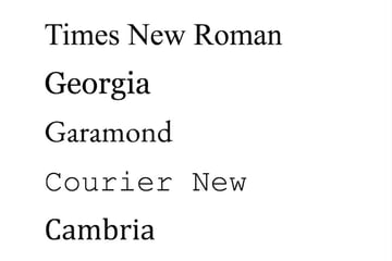 Microsoft Word font styles - Serif font examples