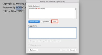 Word add words to Spell Check Dictionary