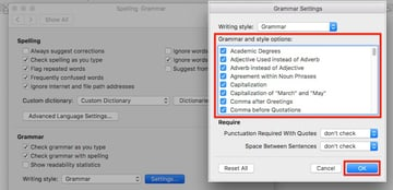 MS Word - Grammar and style options