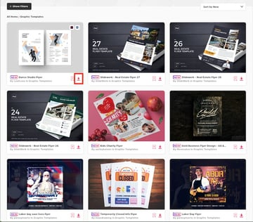 Download Word templates from thumbnails on Elements