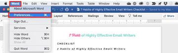 Microsoft Word - File preferences