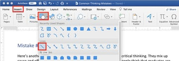 How to Draw in Word with the line tool
