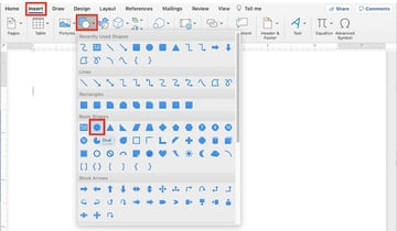 Drawing tools in Word - Shapes and block arrows