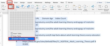 How to insert table in Word by converting Text to Tables