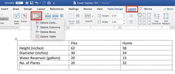Edit a table in MS Word - Delete column or row
