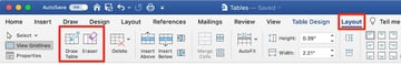Edit a table in MS Word - Layout Draw Table and Eraser