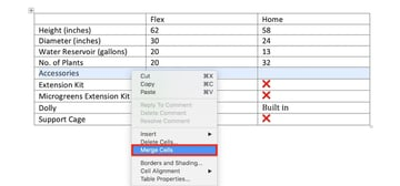 Edit a table in MS Word - Merge cells through right-click