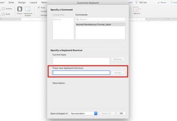 Microsoft Word macros - Assign keyboard shortcut