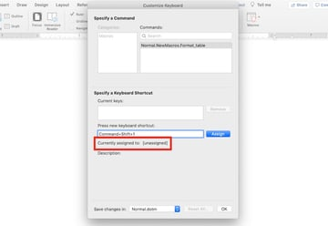 Microsoft Word macros - Use an unassigned keyboard shortcut