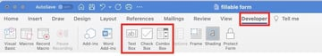 how to make a fillable form in word - form fields