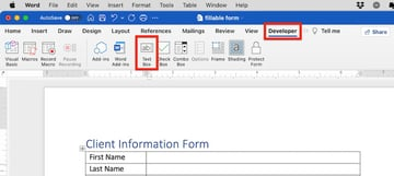 how to make a fillable form in word - text field