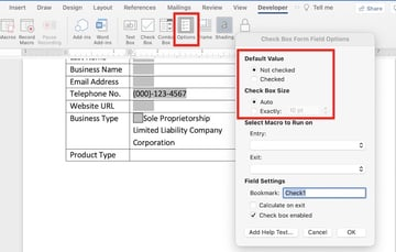 microsoft word forms - check box