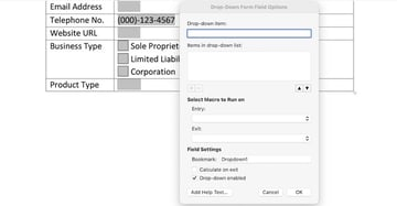 how do i make a fillable form in word