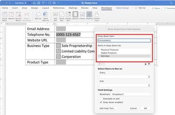create editable word document - dropdown