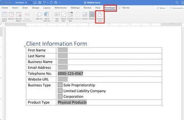 how to create a fillable form in word - protect form