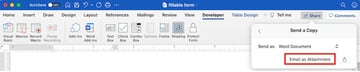 how to create a fillable form in word - share as email attachment