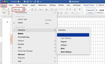Microsoft word flowchart - format text