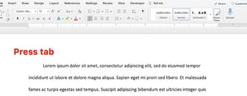 how to make a first indent on word