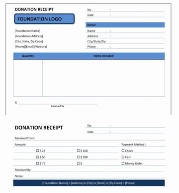 Donation receipt template MS Word