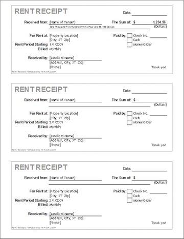 Rent receipt template in Word