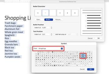microsoft word checkbox
